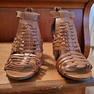 A.E.O. Strappy Heeled Peep Toe Sandals - Size 8